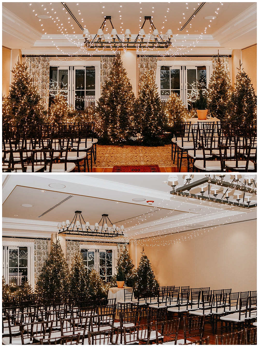 String-lit Christmas Styled Wedding Ceremony at the Kimpton Taconic Hotel, in Manchester VT
