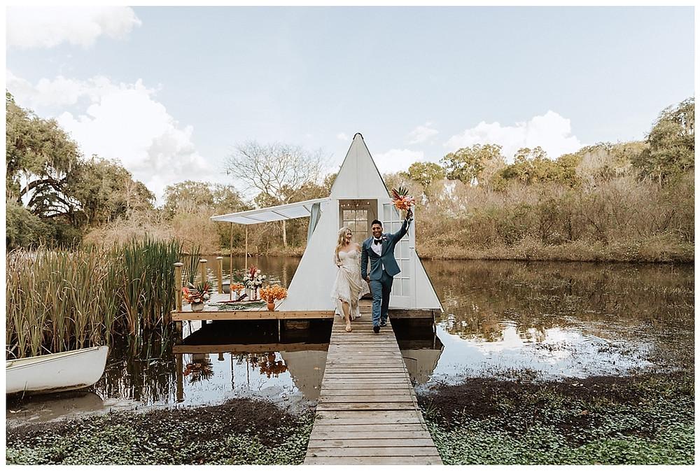 Boho Bride & Groom Portraits on A-Frame Floating Lakehouse at Enchanted Oaks Farms, Florida