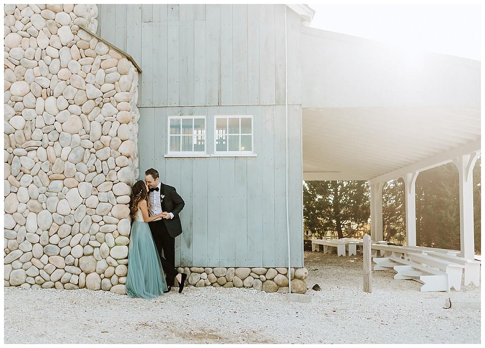 Blue Barn Sunset Bride & Groom Portraits
