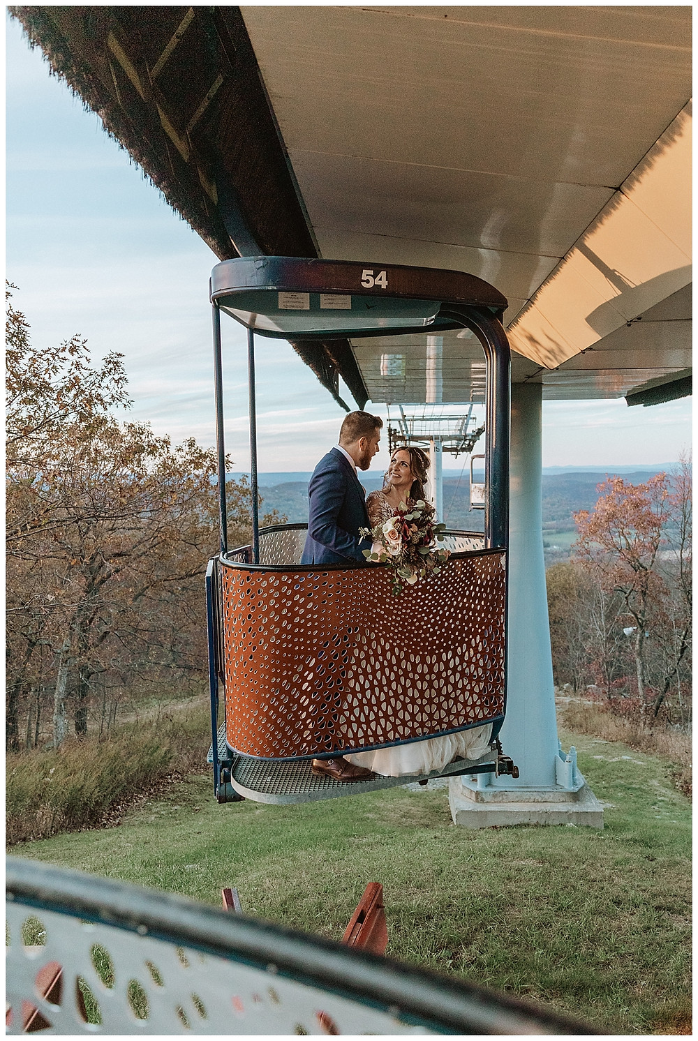Bride and Groom Portraits in Gondola