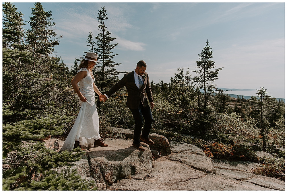Elopement Photography on Cadillac Mountain, Acadia National Park, Maine