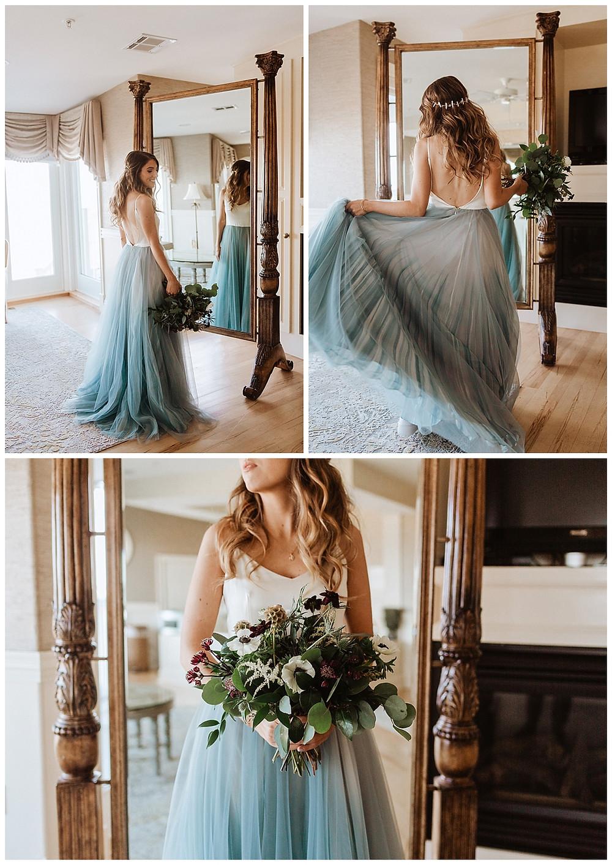 Bridal Portraits, Boho Bride wearing the blue Mae Gown by Chantel Lauren