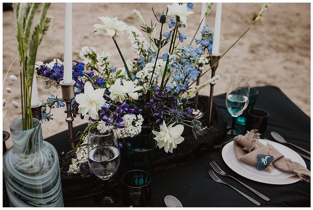 Coastal Ocean Inspired Wedding Reception Tablescape Centerpieces