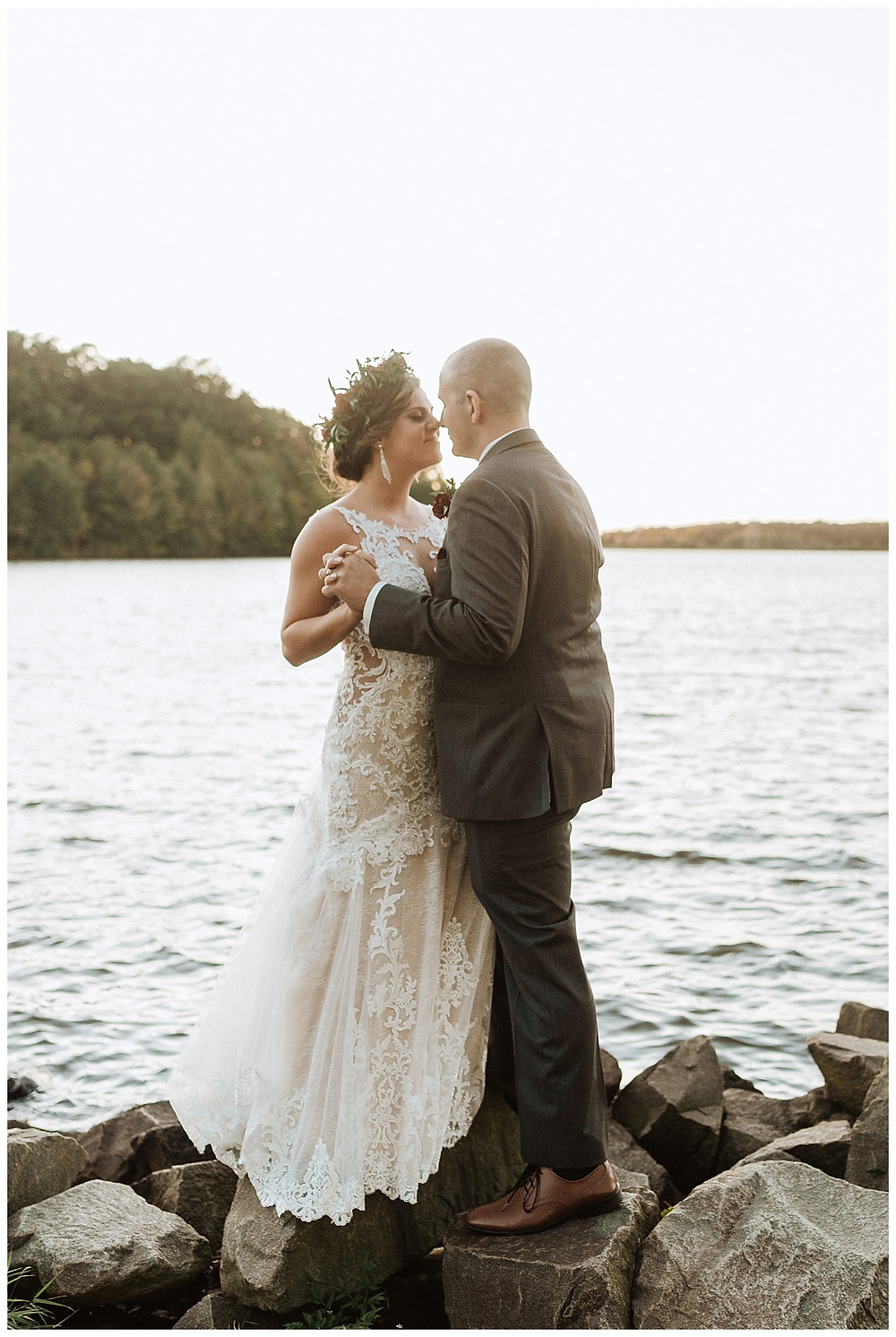 Sunset Lakeside Bride & Groom Portraits