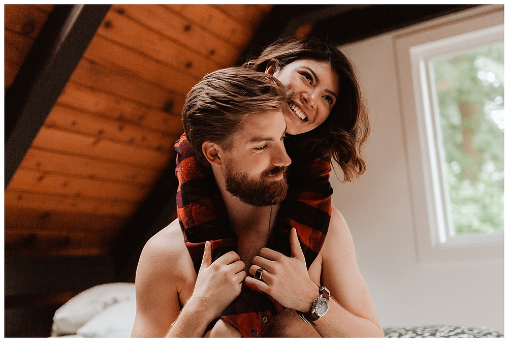 Cozy Cabin Adventure Engagement Session in Canada