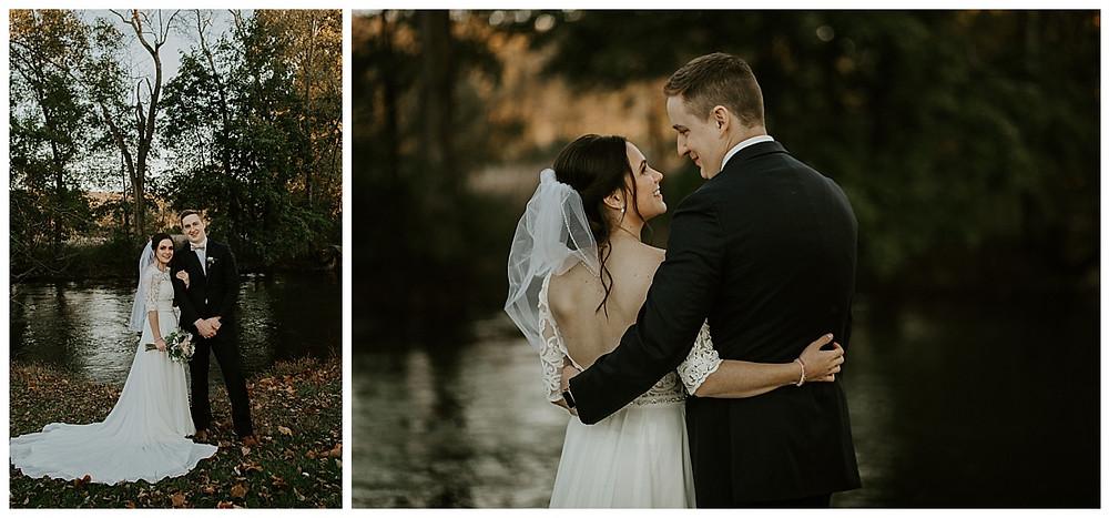 Wooded Creekside Bride & Groom Portraits