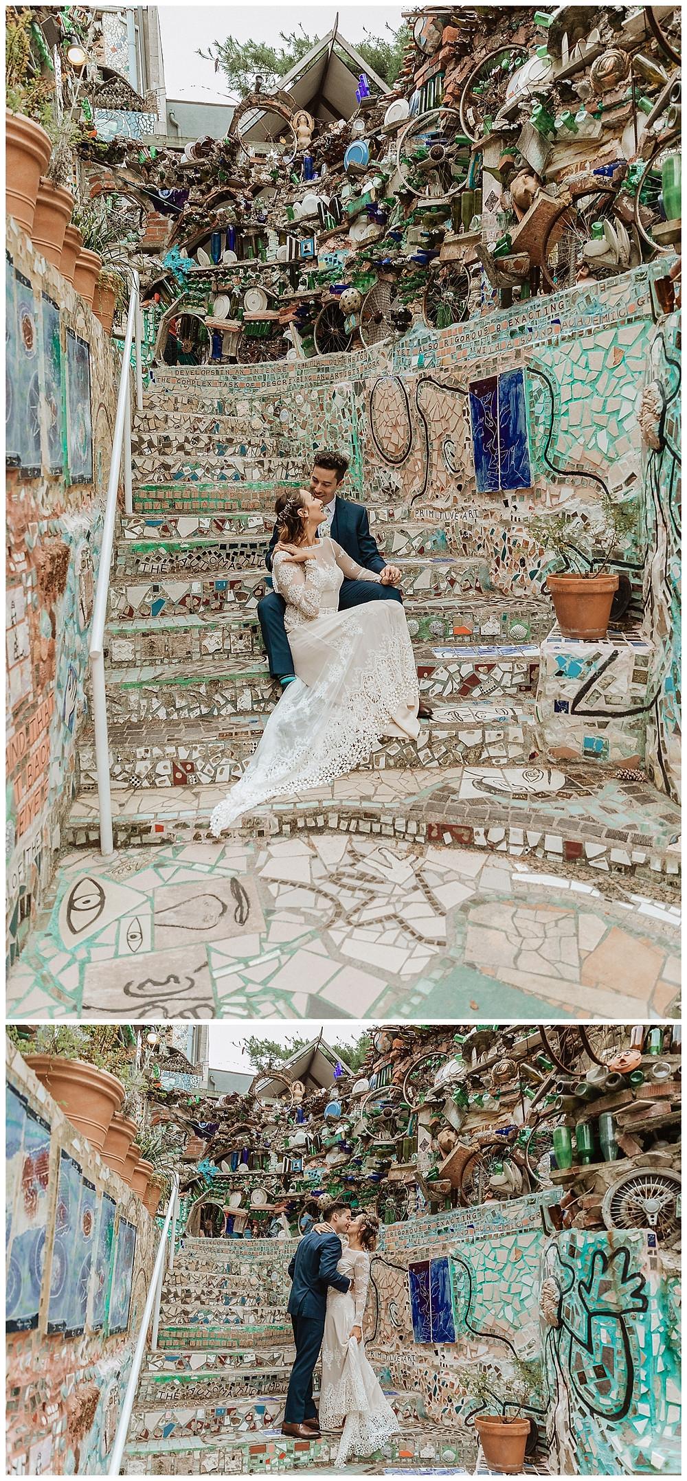 Bride & Groom Portraits at Philadelphia's Magic Gardens