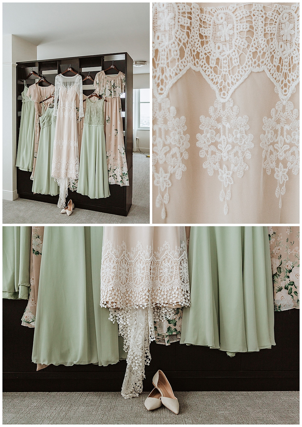 Dreamers and Lovers Lace Wedding Dress with Light Green and Beige Floral Bridesmaid Dresses
