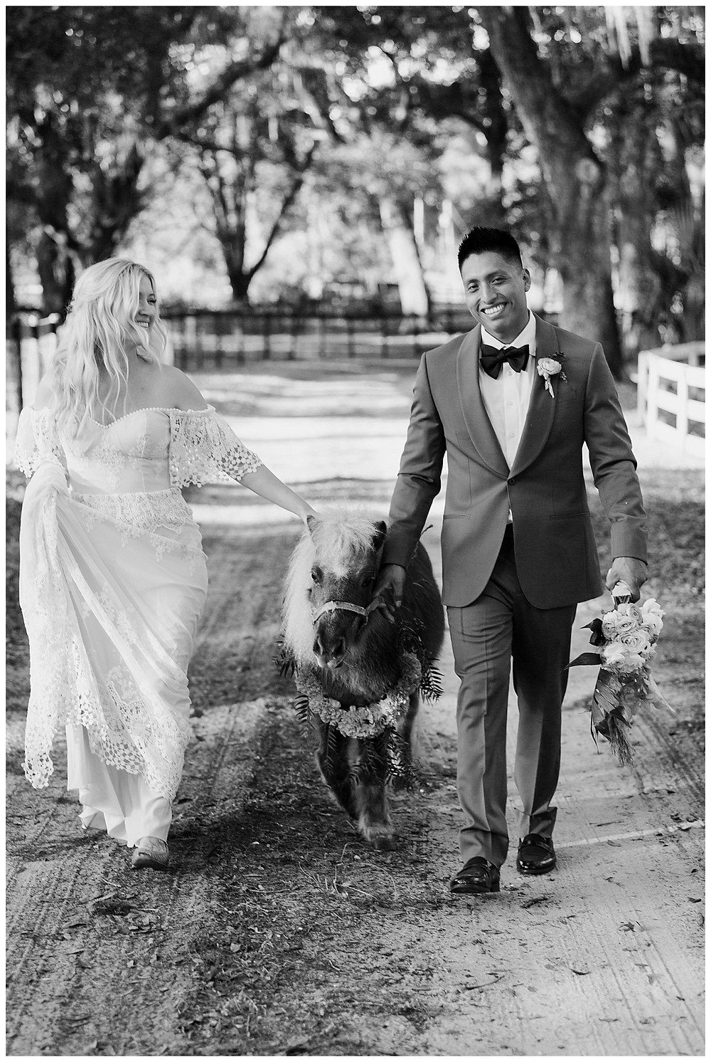 Boho Bride & Groom Portraits with Mini Horse at Enchanted Oaks Farms, Ocala Florida