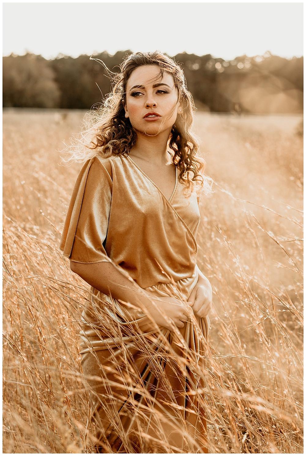 Jenny Yoo Gold Velvet Wrap Bridesmaid Dress