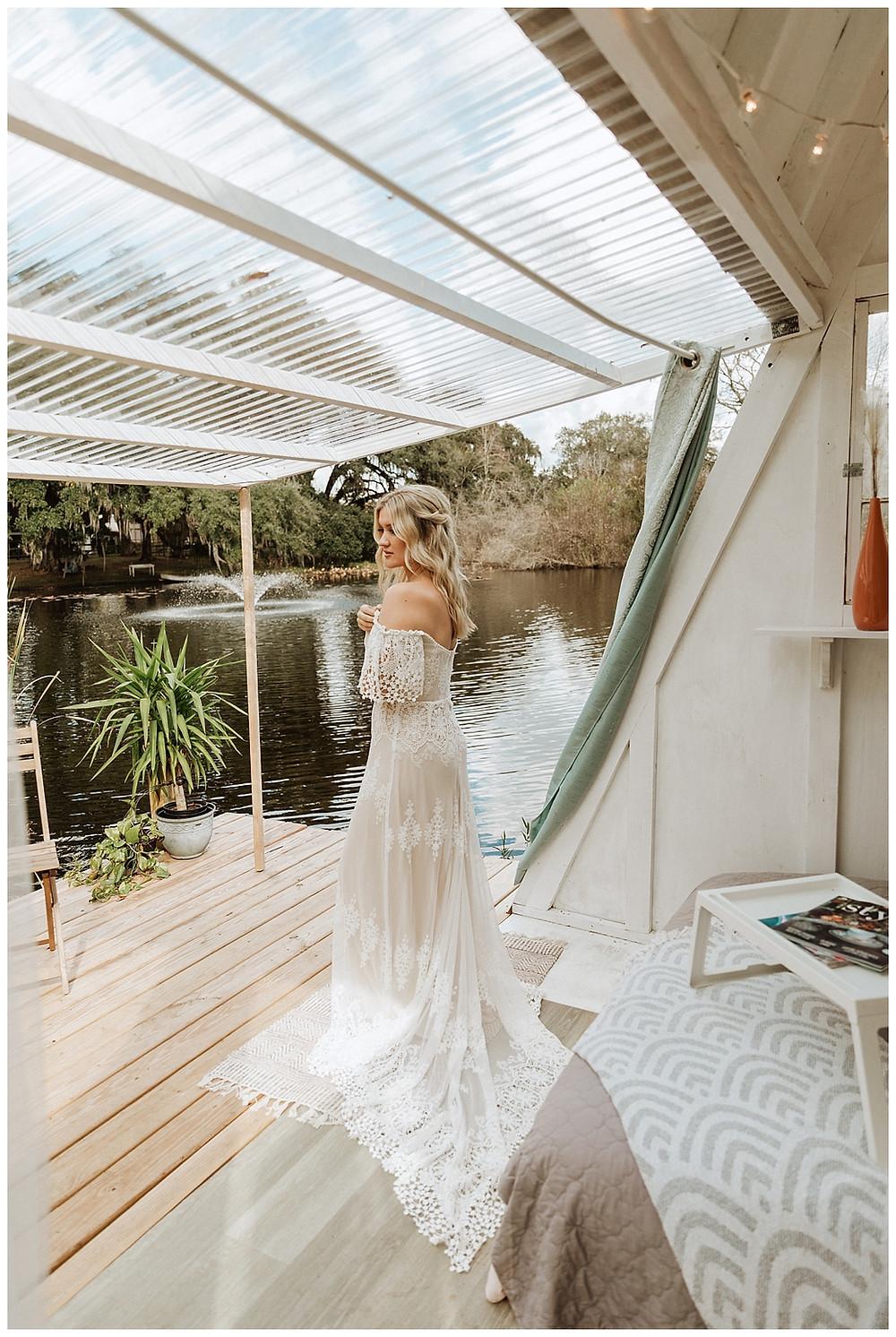 Lakehouse Boho Bridal Portraits | Dreamers and Lovers Wedding Dress