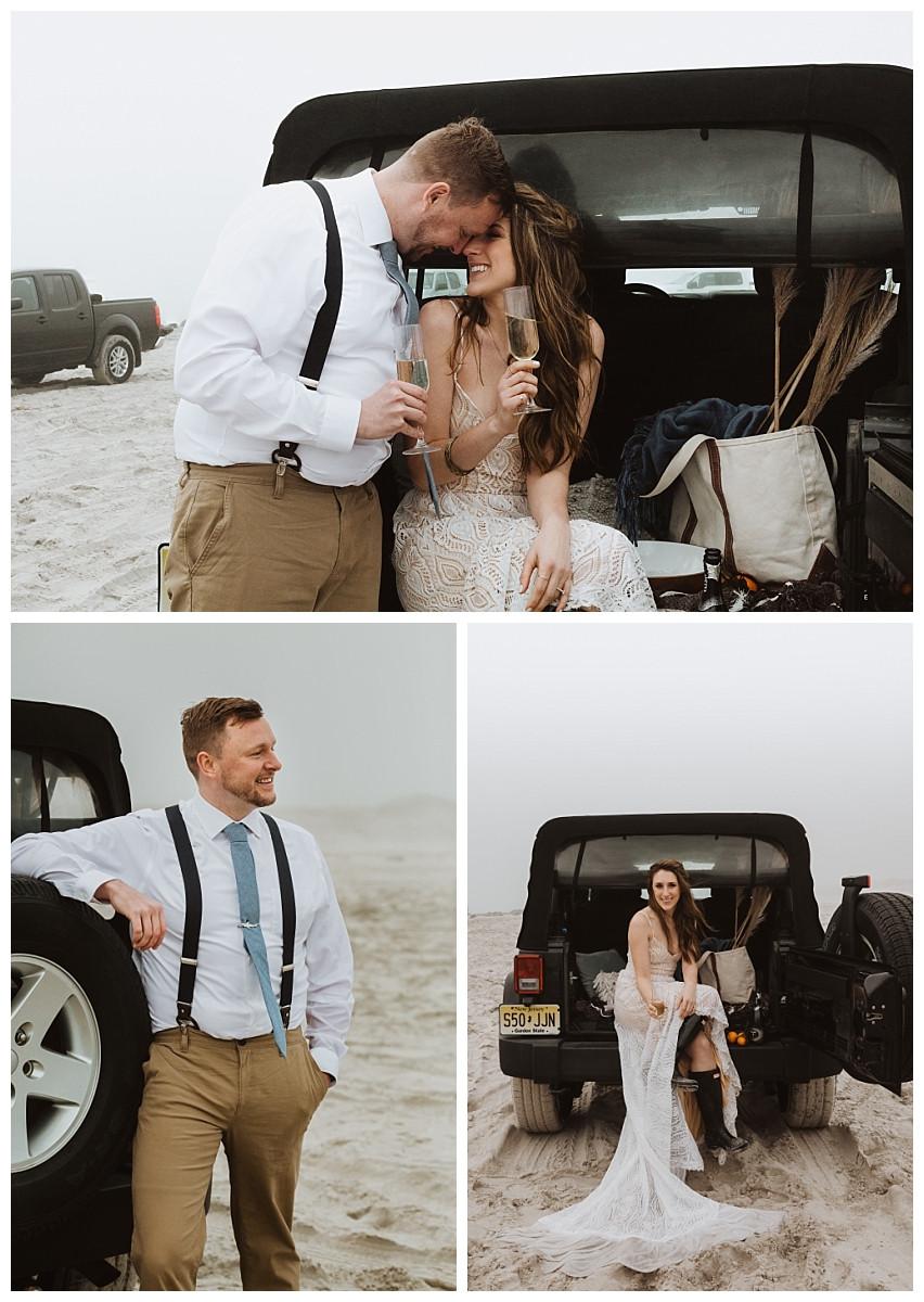 Beach and Jeep Bride & Groom Portraits