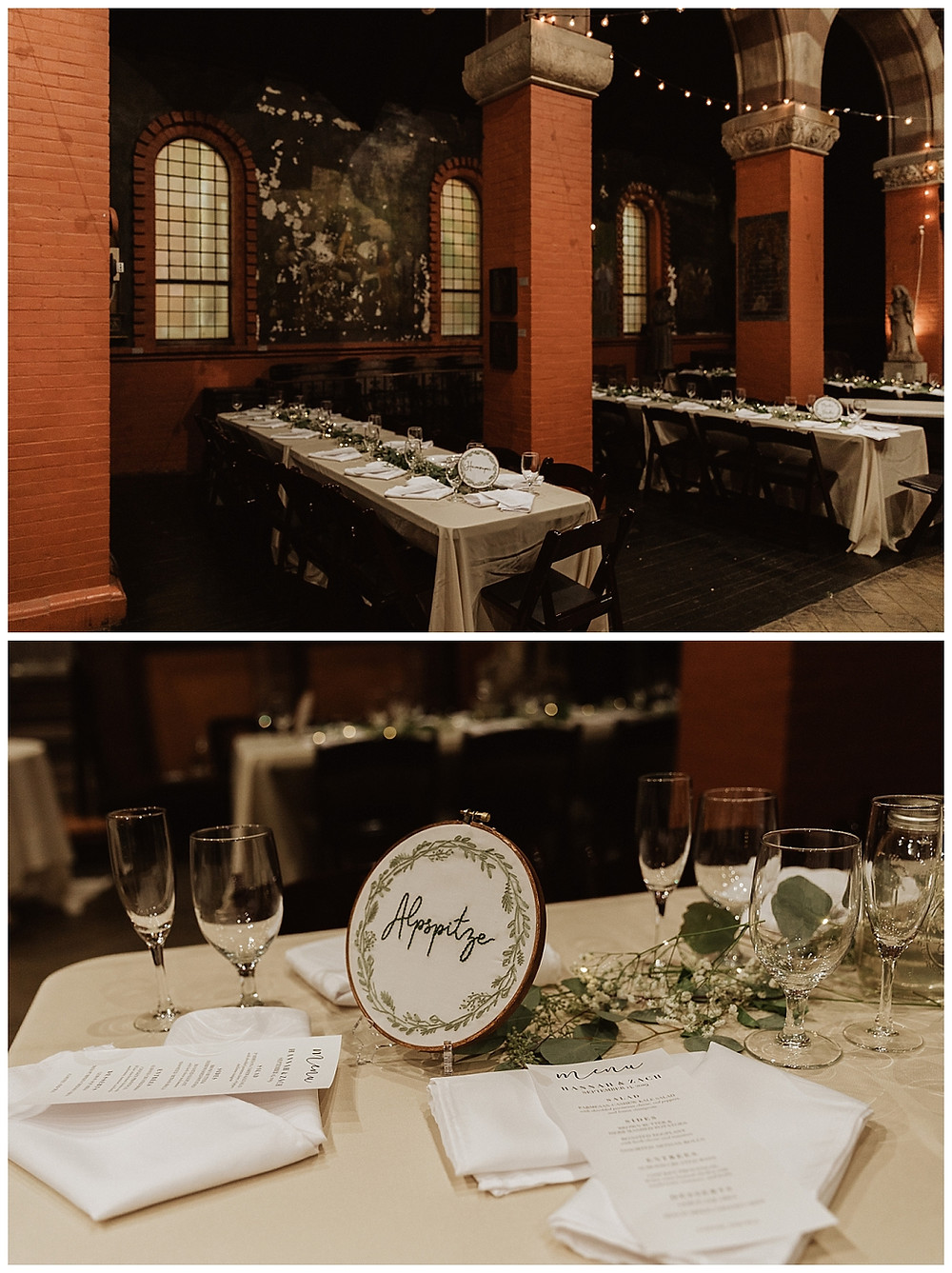 Vintage Industrial Wedding Reception Decor and Table Settings at the Fleisher Art Memorial
