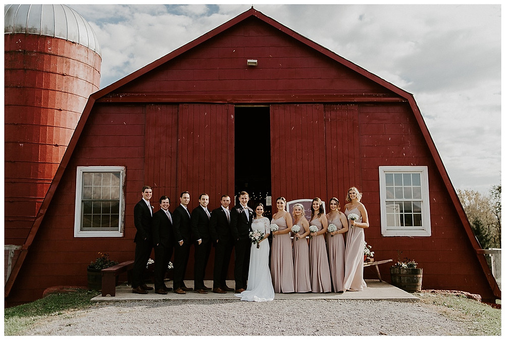 Wedding Party Portraits in front of Red Barn