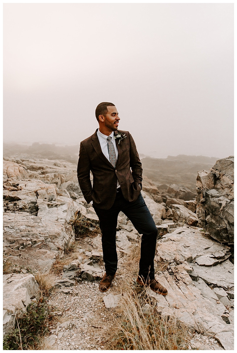Groom Portraits at Otter Point, Acadia National Park, Maine