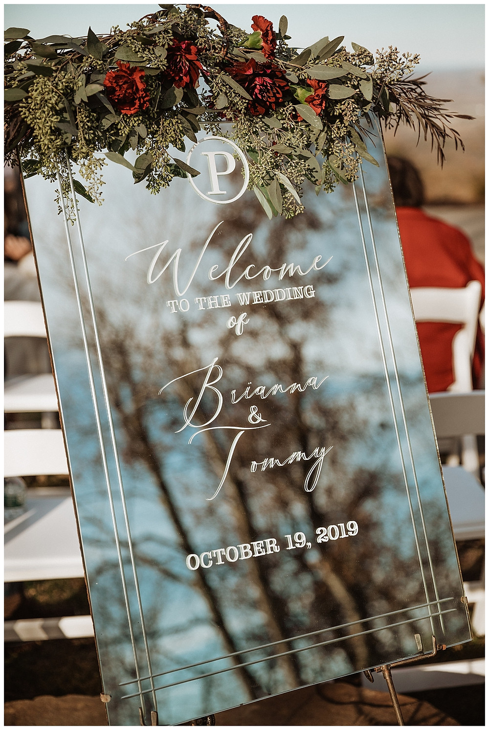 Mirrored Welcome Wedding Sign with Floral Details