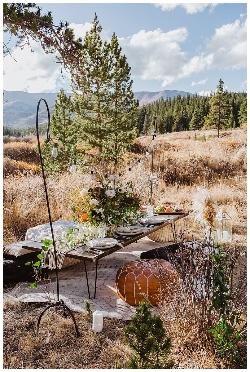 Rocky Mountain Elopement Reception Setup