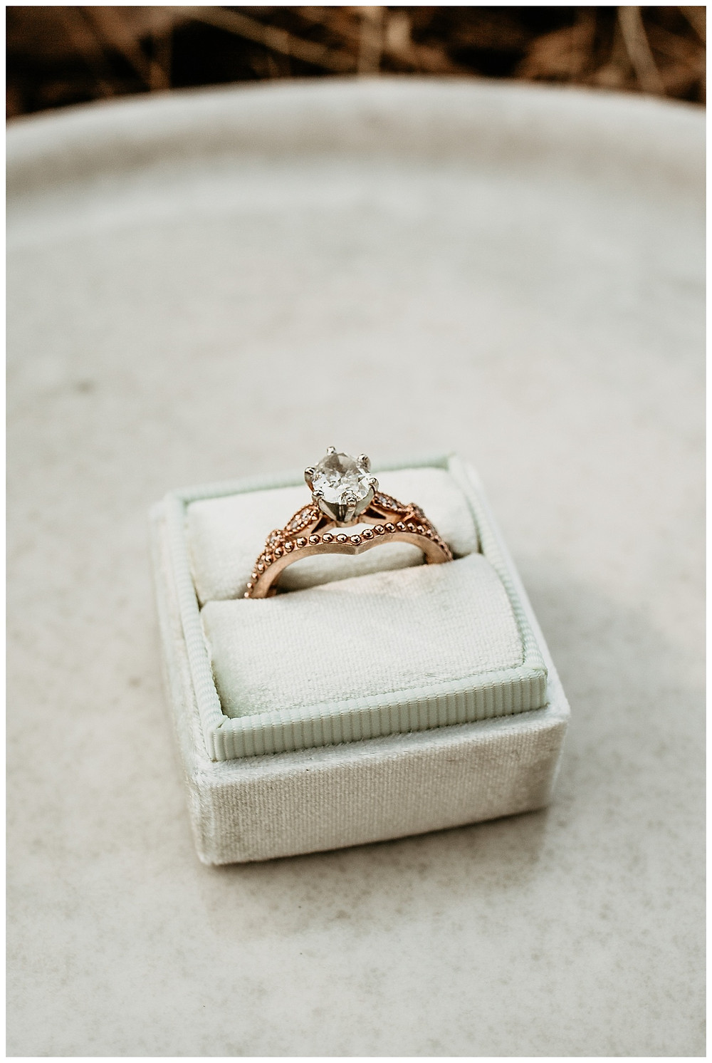 Mint Colored Velvet Ring Box with Rose Gold Diamond Ring