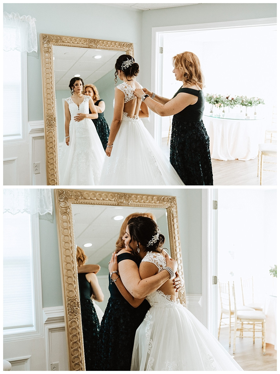 Bride Getting Reading Photos with Mom