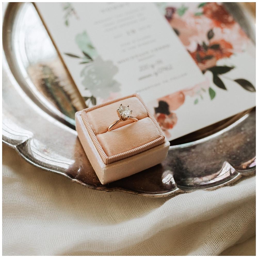 Simple Gold Diamond Ring in Pink Velvet Ring Box