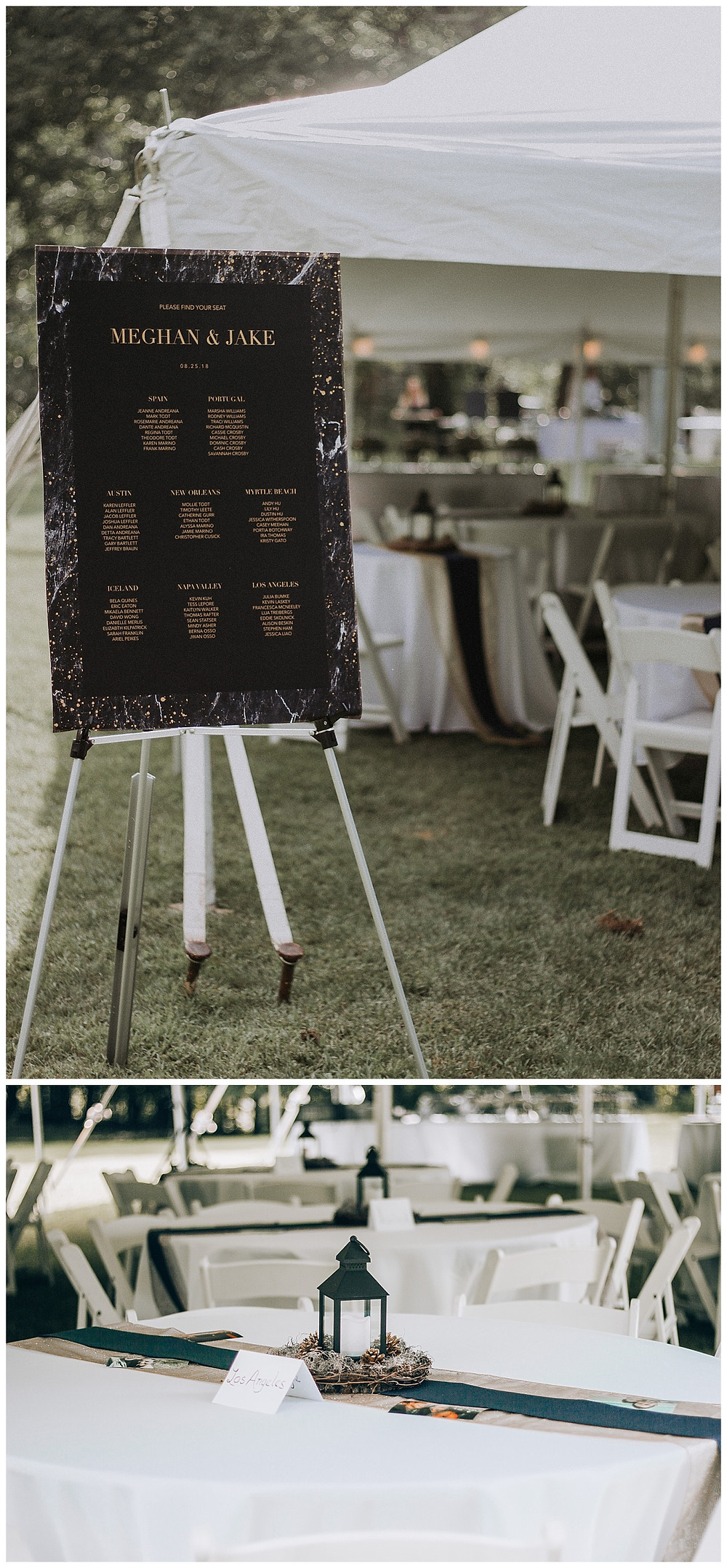 Tented Wedding Welcome Sign and Table Settings