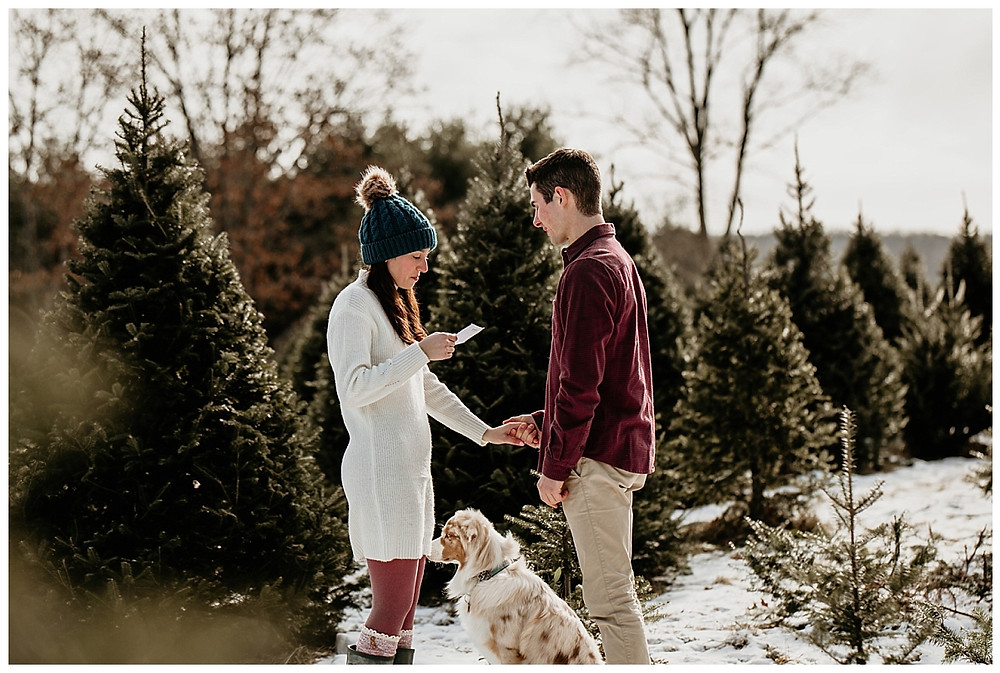 Private Vows at Winter Christmas Vermont Wedding