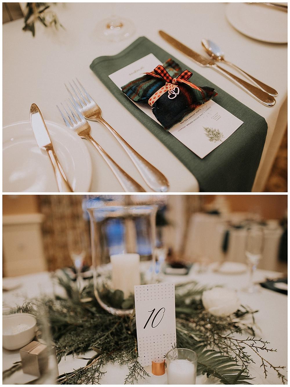 Christmas Themed Winter Wedding Reception Table Settings and Decor
