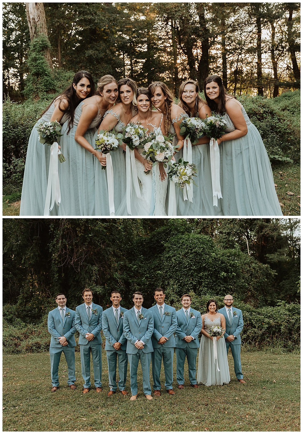 Light Blue Bridesmaid Dresses and Groomsman Attire