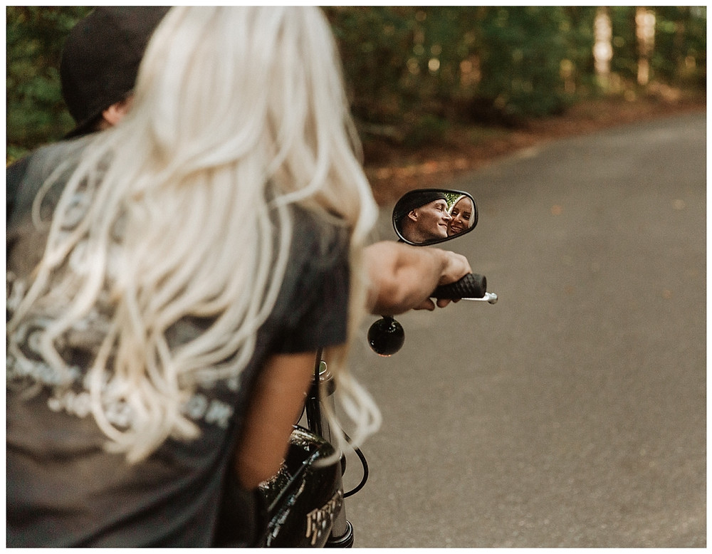 Back Roads Engagement Session with Harley Motorcycle