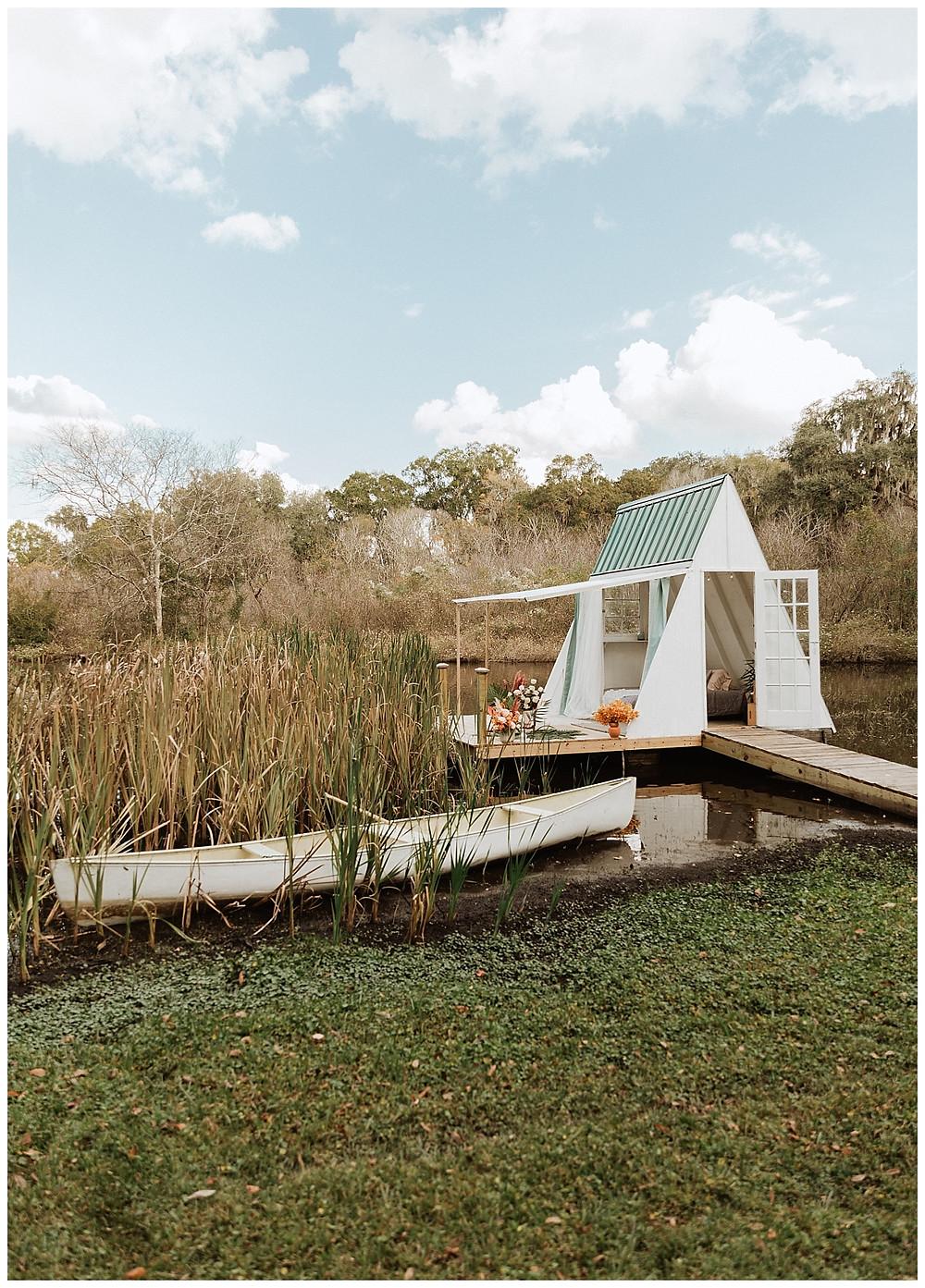 Boho A-Frame Floating Lakehouse at Enchanted Oaks Farms, Florida