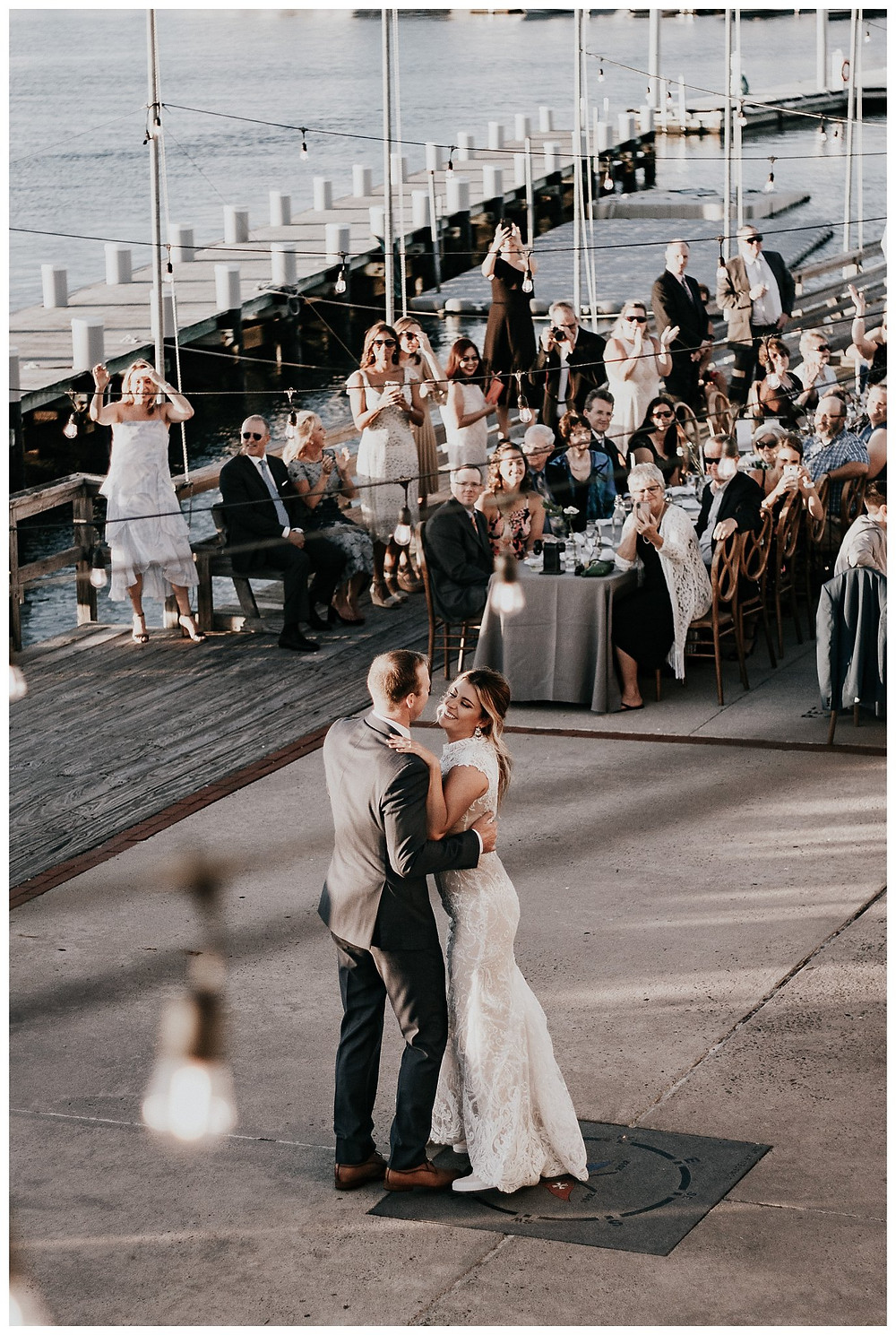 Vintage Boat Wedding Bride and Groom First Dance at Little Egg Harbor Yacht Club, Beach Haven NJ