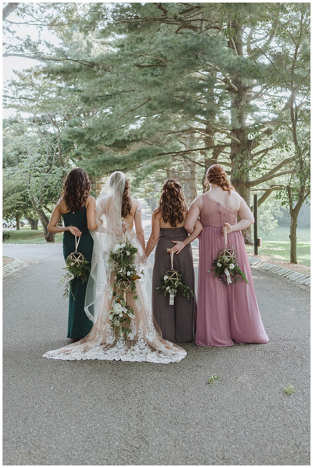 Bridal Party Portraits, Hanging Bouquets
