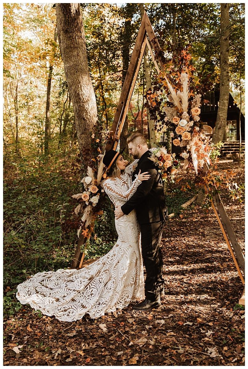 Woodsy Boho Autumn Elopement Bride & Groom Portraits