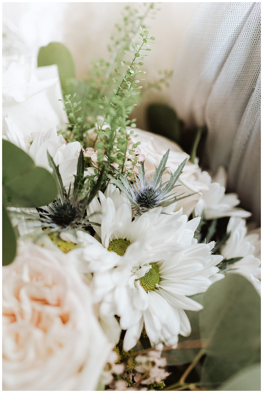 Unique White and Blue Wedding Bouquet