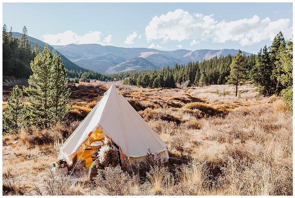 Boho Tent Glamping Elopement in the Rocky Mountains