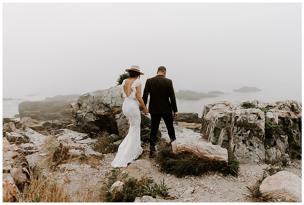 Adventure Elopement Photography at Otter Point, Acadia National Park, Maine
