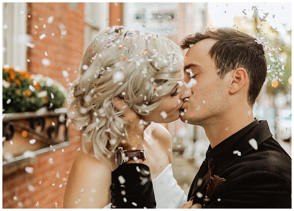Urban Bride and Groom Confetti Toss Portraits