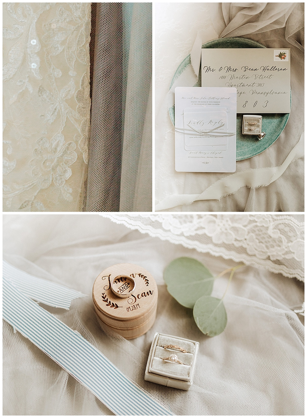 Lace Wedding Dress Detail and Cream Wedding Stationary