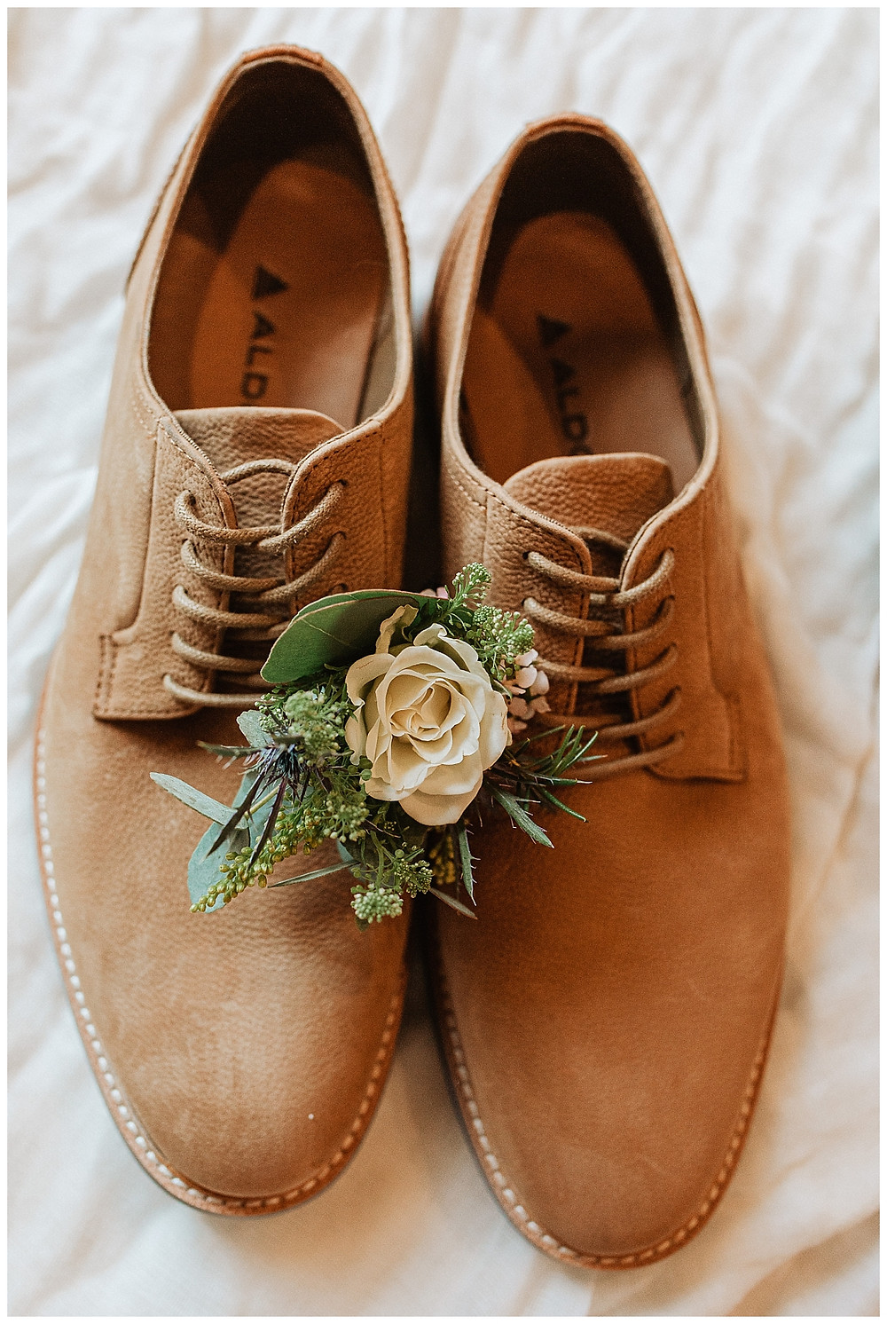 Groom's Saddle Stitch Light Brown Dress Shoes and White Rose Boutonniere
