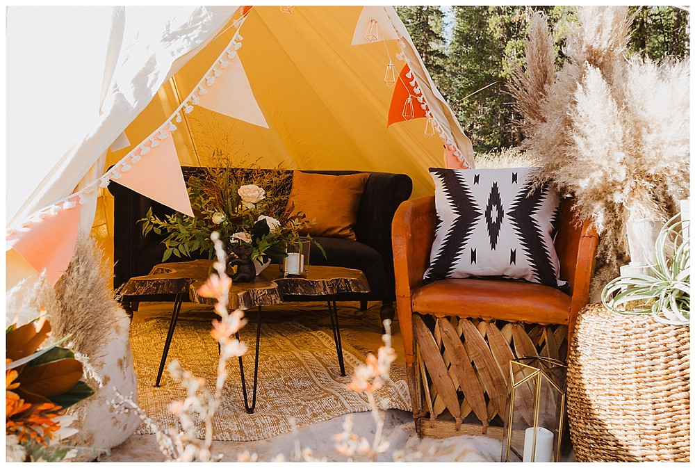 Boho Tent Glamping Setup for Elopement