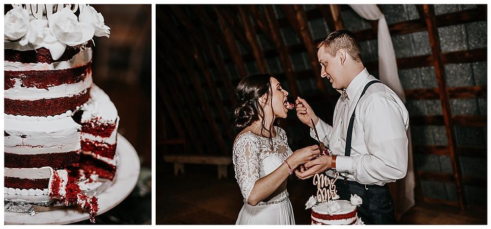 Barn Wedding Cake Cutting
