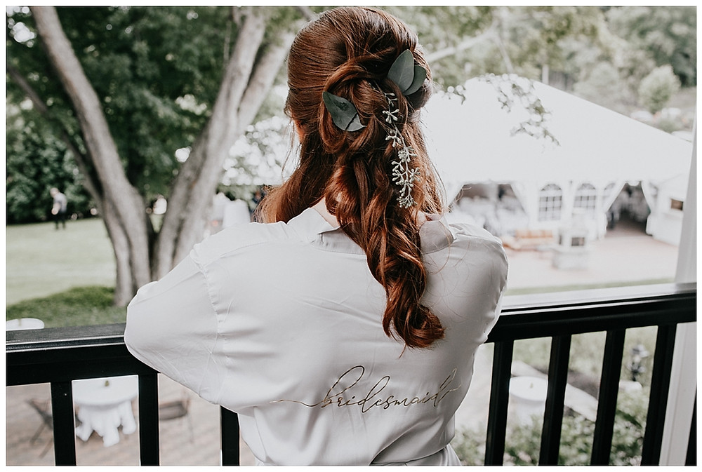 Silver Bridesmaid Robe and Whimsical Half Up Half Down with Leaf Details