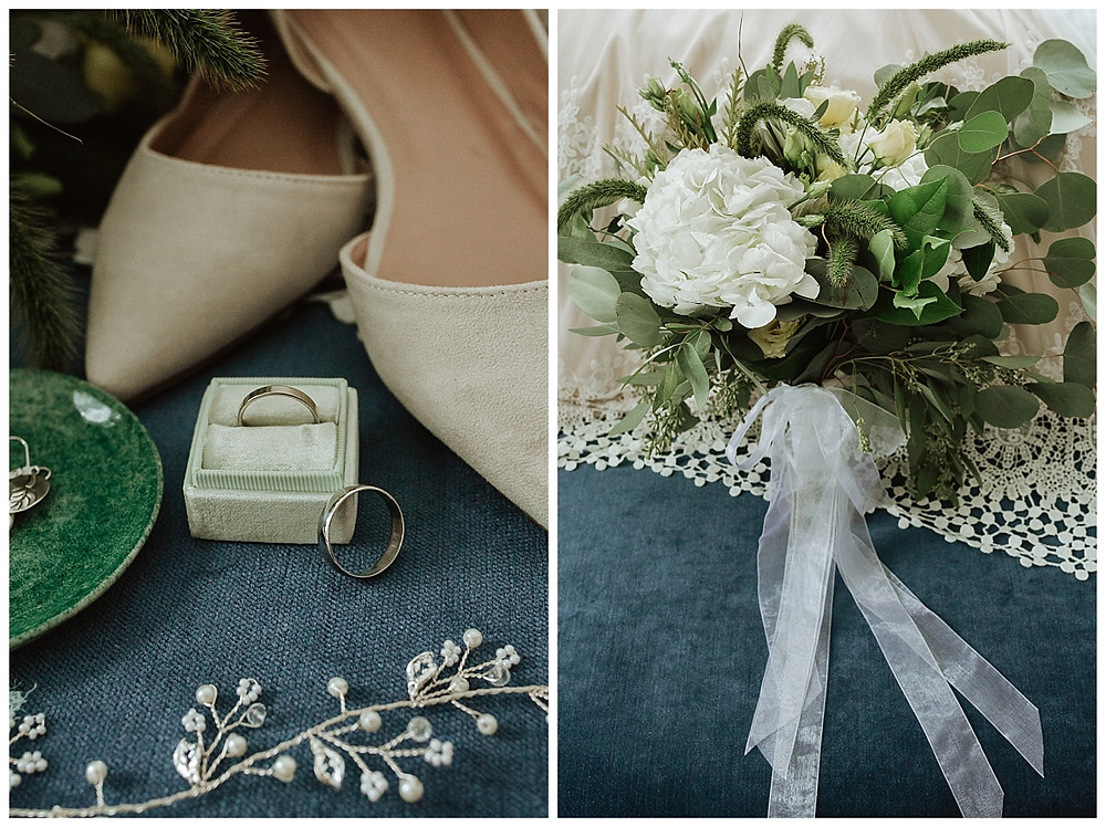 White Peony and Eucalyptus Bridal Bouquet and Wedding Band Detail Shot in Mint Green Velvet Ring Box