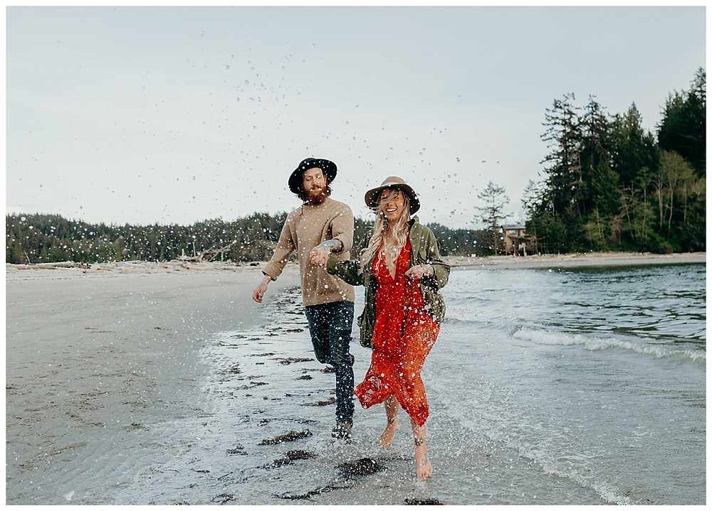 Splashing Beach Engagement Photos in British Columbia