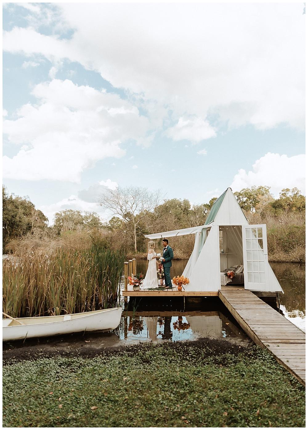 Elopement Vows at Boho A-Frame Floating Lakehouse at Enchanted Oaks Farms, Florida