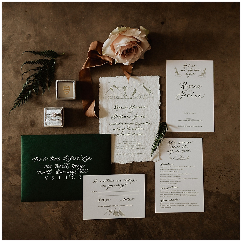 Vintage Mountain Inspired Wedding Stationary