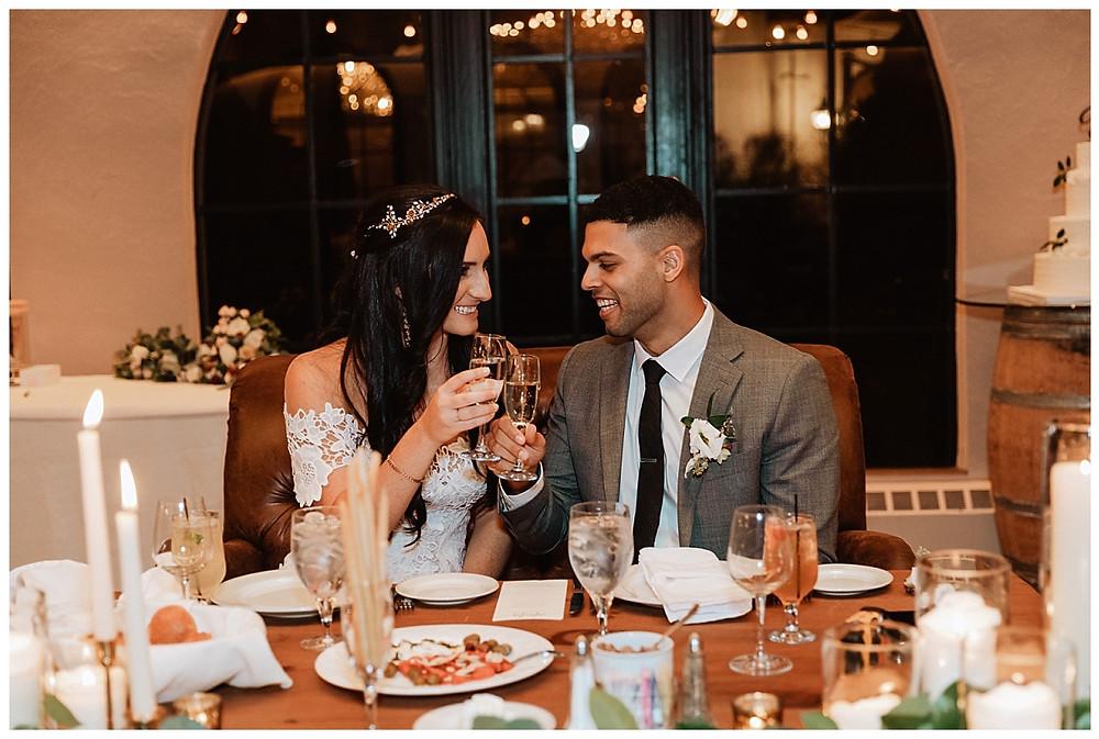 Bride & Groom Sweetheart Table Cheers