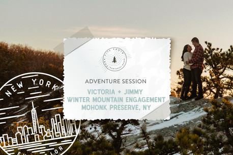 Winter Sunrise Mountain Adventure Engagement at Mohonk Preserve in New York Catskills