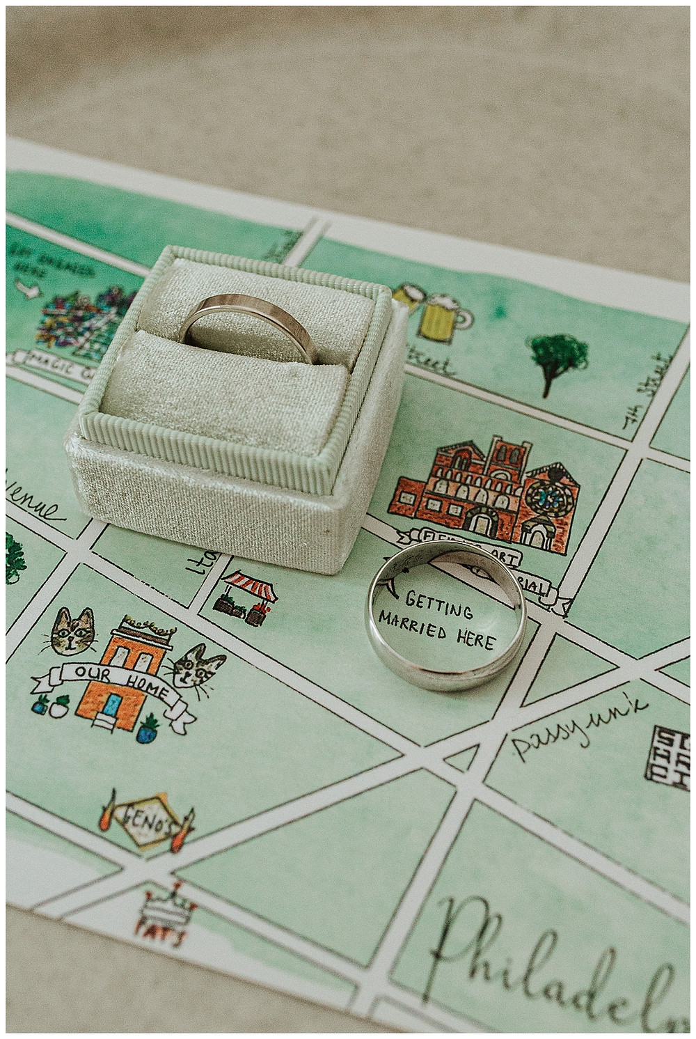 Wedding Band in Mint Green Velvet Ring Box with Map Style Invitation
