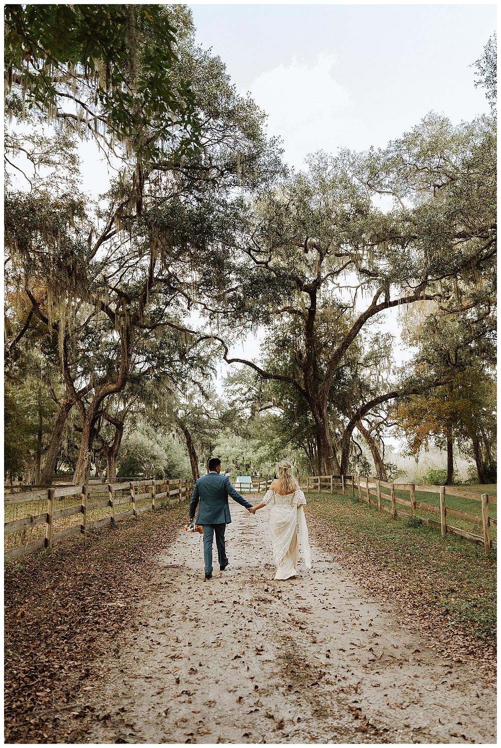 Bride & Groom Portraits under Oaks with Spanish Moss as Enchanted Oaks Farm, Ocala Florida